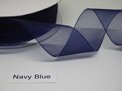 Navy Woven Edge Organza Ribbon, choice of two widths in cut lengths - free post