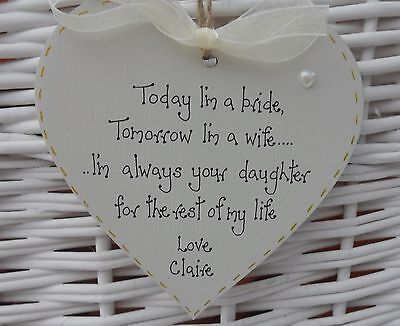 Personalised  Wedding Gift Mother Father of Bride keepsake heart