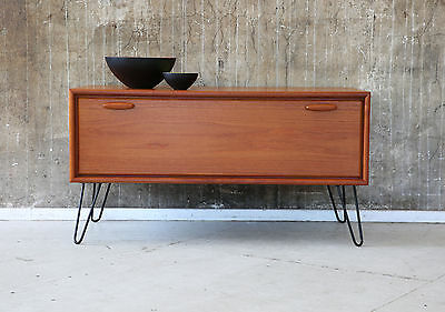 1(2) 60er TEAK KOMMODE TV HIFI RACK 60s TEAKWOOD CABINET MEDIA BOARD SIDEBOARD