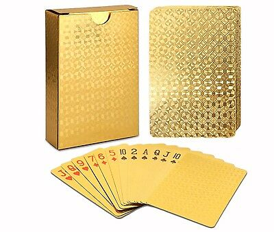 New Certified 24K Gold Foil Plated Poker Playing Cards Deck WATERPROOF