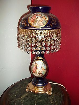 Stunning French Antique Style Lamp With Clear Droplets Shade