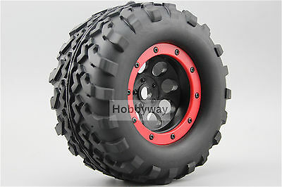 4pcs RC 1/8 Bead Lock Monster Truck Tire Tyre Set 1/2 offset For HPI 26405 26406