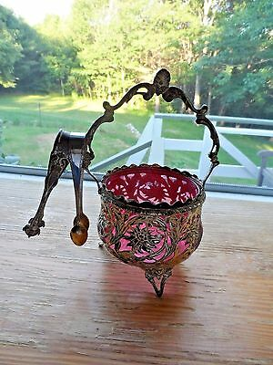 Antique Footed Silverplated? Sugar Bowl w/ Cranberry Glass Bowl & 2 Sugar Tongs