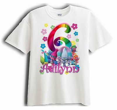 New Personalized Custom Trolls Birthday T-Shirt Party Favor