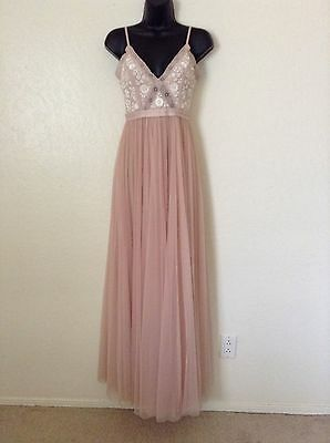 NWT Needle & Thread 'Embroidery Motif' Tulle Maxi Dress*Blush Pink*US 2