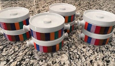Atomic Mid Century Modern Covered Individual Handled Soup Bowls Gorgeous
