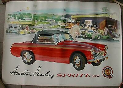 Original Poster AUSTIN HEALEY SPRITE MK II   Johnston um 1962