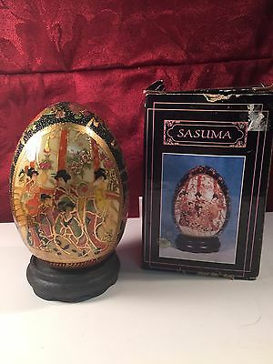 Vintage Sasuma Egg - Cloisonne - 6 Inches Tall - Porcelain New in Opened Box