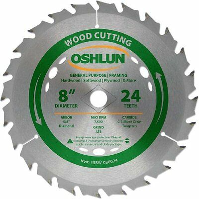 Oshlun SBW-080024 Table Saw Blades 8-Inch Tooth ATB General Purpose and Framing
