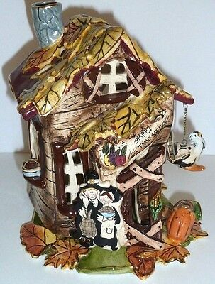 Blue Sky Clayworks Ceramic Thanksgiving Candle House 2003 Euc Retired