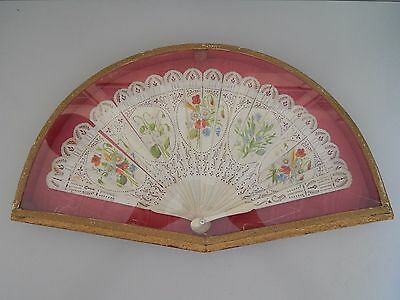 Antique Carved & Painted fan in case c 1840