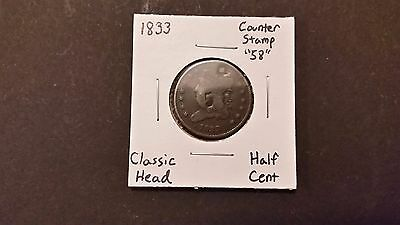 1833 Classic Head Half Cent! Counter Stamped & Holed! Free Shipping!