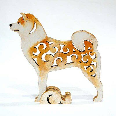 Akita Inu figurine, red statue made of wood