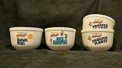 Lot of 4 Kellogg's Cereal Bowls 1999 HH Raisin Bran Frosted Flakes Rice Crispies