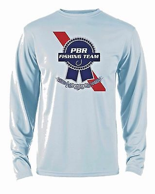 PABST BLUE RIBBON Microfiber Long Sleeve Fishing Shirt UPF Sun Shirt