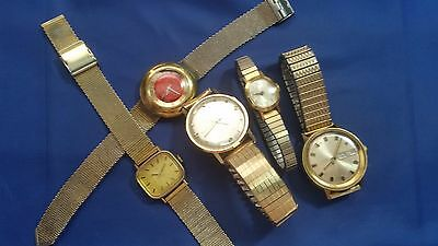 Lot of 5 Vintage Used Timex Wristwatches for parts