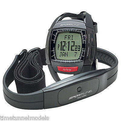 Sportline 660 Men's Cardio Heart Rate Watch, Black for Exercise