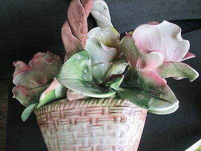 Vintage Capodimonte Porcelain Large Basket with 3  Pink/Yellow Roses  ITALY
