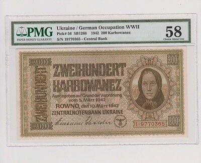 Ukraine German Occupation WW2 200 Karbowanez 1942 AU 58
