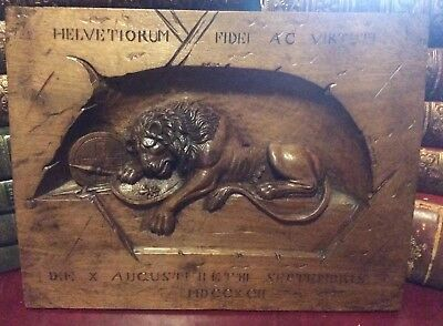 Antique Wood Carved Relief of The Lion Of Lucern 1792
