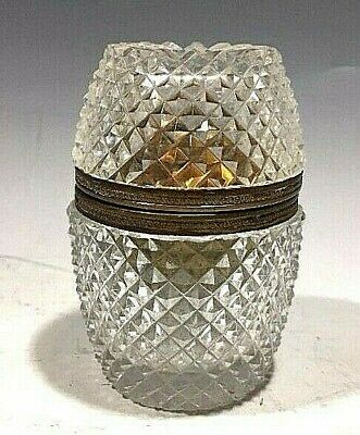 Vintage French Cut Glass w/Brass/Bronze Table Lighter