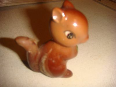 """Ceramic Squirrel Vintage Figurine 2 1/2"""" Tall Brown Holding His Green Nut"""