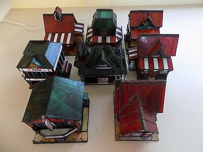 Lot of 8 Coke Coca Cola Village Pieces Franklin Mint 1995-1999 Stained Glass