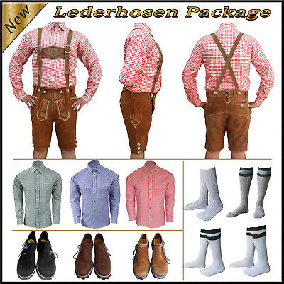German Bavarian Oktoberfest Trachten Short Lederhosen Shirt Shoes Sock Package A