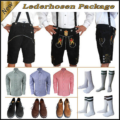 German Bavarian Oktoberfest Trachten Short Lederhosen Shirt Shoes Sock Package H