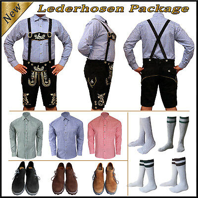 German Bavarian Oktoberfest Trachten Short Lederhosen Shirt Shoes Sock Package E