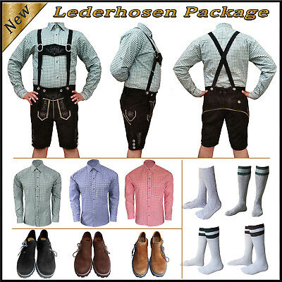 German Bavarian Oktoberfest Trachten Short Lederhosen Shirt Shoes Sock Package B
