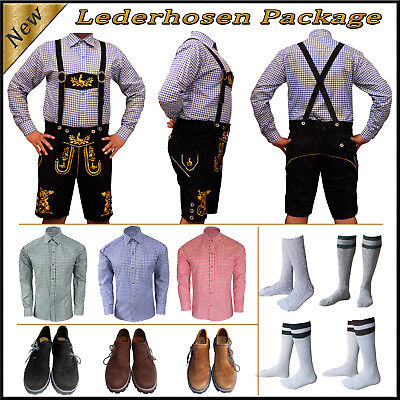 German Bavarian Oktoberfest Trachten Short Lederhosen Shirt Shoes Sock Package G
