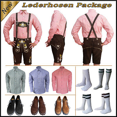 German Bavarian Oktoberfest Trachten Short Lederhosen Shirt Shoes Sock Package K