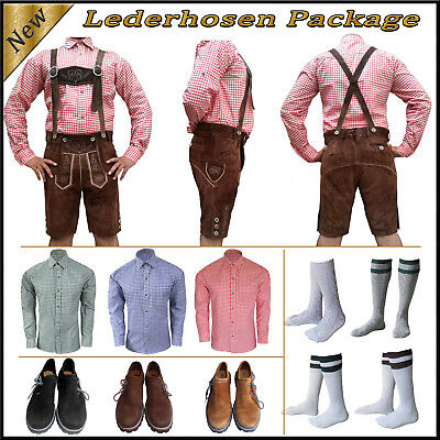 German Bavarian Oktoberfest Trachten Short Lederhosen Shirt Shoes Sock Package C