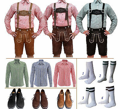 German Bavarian Oktoberfest Trachten Short Lederhosen Shirt Shoes Sock Package P