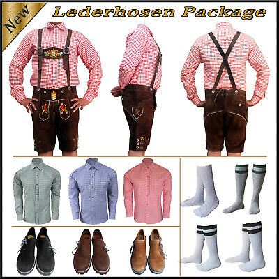 German Bavarian Oktoberfest Trachten Short Lederhosen Shirt Shoes Sock Package J
