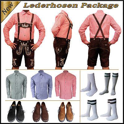 German Bavarian Oktoberfest Trachten Short Lederhosen Shirt Shoes Sock Package M