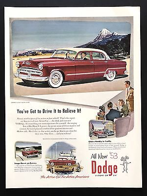 1953 Vintage Print Ad DODGE Red Car Illustration Coronet Sedan Mountains