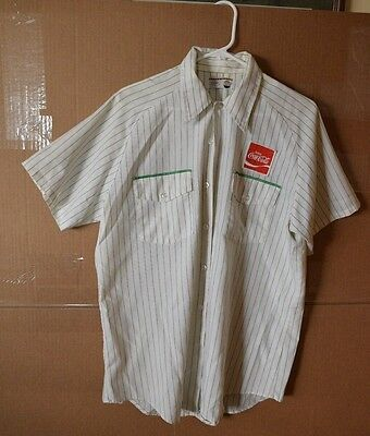 Vintage Authentic 1970's Coca-Cola Delivery Driver Short Sleeve Shirt Pinstripe