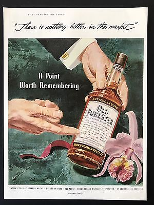 1953 Vintage Print Ad OLD FORESTER Bottle Illustration Color Point To Label