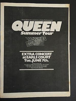 "Queen 1977  Summer Tour Sell Out Extra  Concert At Earls Court U.K.  12X17"" Ad"
