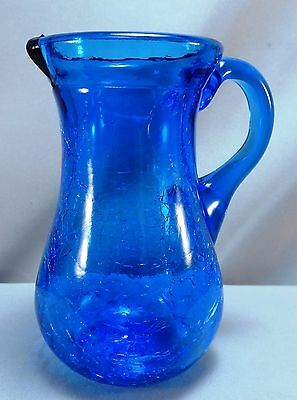 Hand Blown Cobalt Blue Crackle Glass Small Pitcher Creamer Vase with Handle