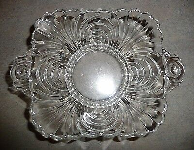 "Vintage Caprice Clear Cambridge Glass 7 1/4"" Square HANDLED FOOTED BOWL"