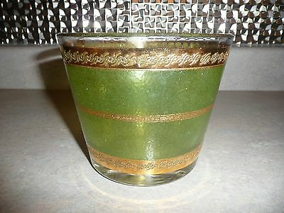 Vintage Glass ICE BUCKET Green & Gold Bands Barware Culver? Starlyte?