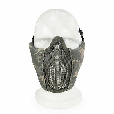 Camouflage Breathable Half Half Face Mask Steel Net Mesh Mask for Tactical GT
