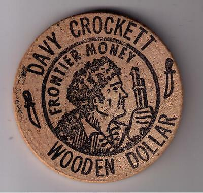 Vintage Davy Crockett Frontier Money Wooden Dollar-Alamo-San Antonio,tx.