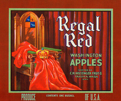 Wholesale Lot Of 25 - Regal Red Vintage Apple Crate Label Yakima, Wa Advertising