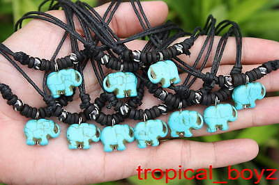 10 Handmade Artificial Stone Blue Elephant with Bone Beads Necklaces Wholesale