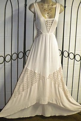 Vintage Look Lace Wedding Dress V Back gauze Boho Hippie Beach Bridal Gown Sz SP