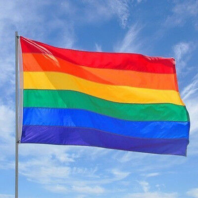 3 x 5ft Rainbow Flag Polyester Flag Gay Pride Lesbian Peace LGBT With Grommets